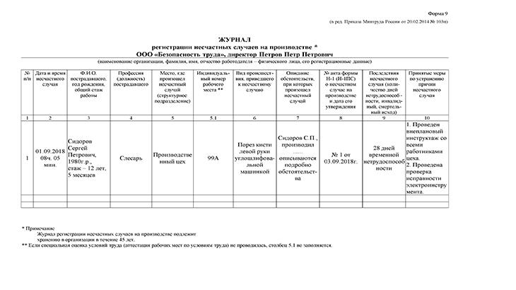 Пример оформления журнал регистрации несчастных случаев
